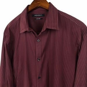 Axist Maroon Striped Button Up Shirt Size Large